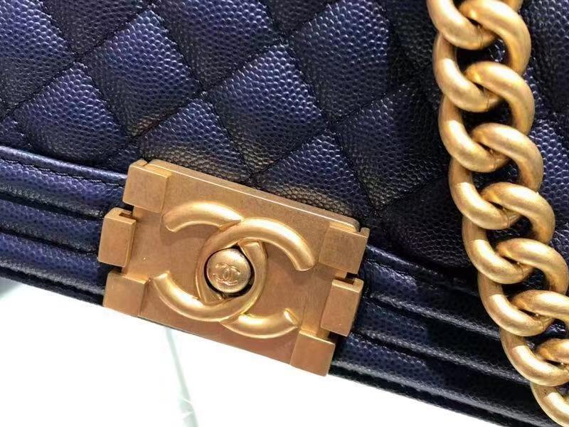 Chanel(香奈儿)Leboy 球纹皮配搭复古砂金 蓝色 25cm