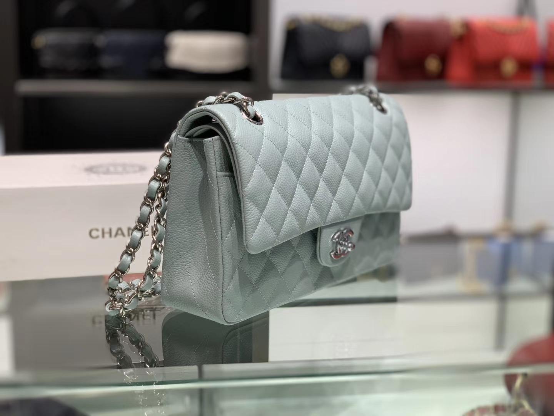 Chanel(香奈儿)cf # 链条包 浅薄荷蓝 【鱼子酱】 银扣 银链 25cm