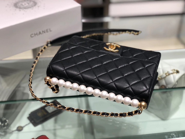 Chanel(香奈儿)横款 珍珠 链条包 黑色 16×21×4