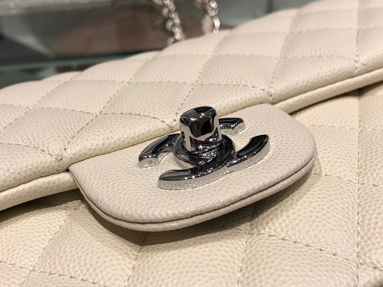 Chanel(香奈儿)cf # 链条包 奶昔白 细球纹 银扣 银链 25cm