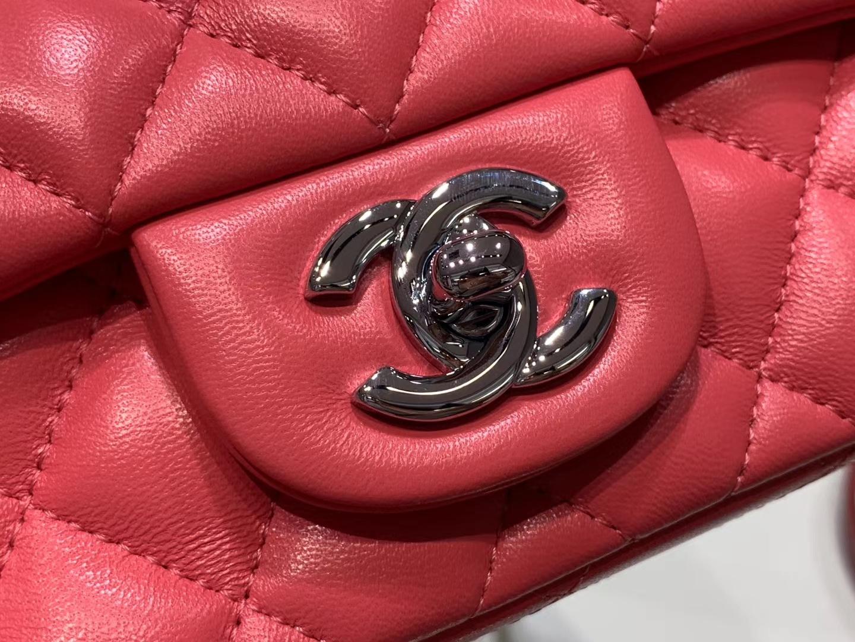 Chanel(香奈儿)cf # 链条包 方胖子 西瓜红 羊皮 银扣 银链 17cm
