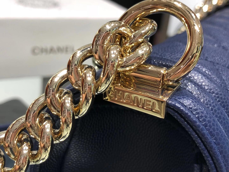 Chanel(香奈儿)Leboy 球纹皮配搭复古砂金 深蓝色 25cm