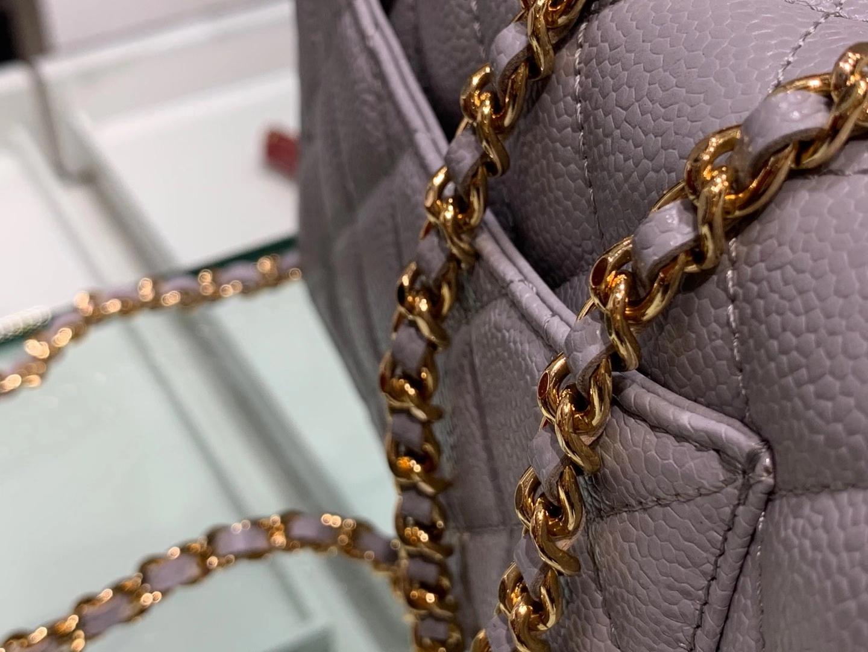 Chanel(香奈儿)𝓦𝓞𝓒 经典菱格包 鱼子酱发财包 巴黎灰 金扣 19.5cm