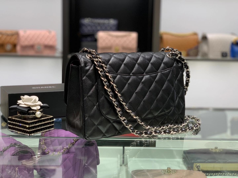 Chanel(香奈儿)cf jumbo 链条包 黑色 银扣 银链 30cm