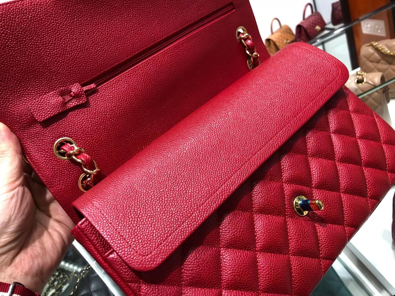 Chanel(香奈儿)cf jumbo 链条包 中国红 金扣 金链 30cm