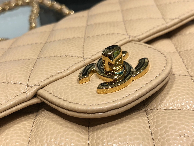 Chanel(香奈儿)cf 链条包 杏仁色 细球纹 菱格包 金扣 金链 25cm