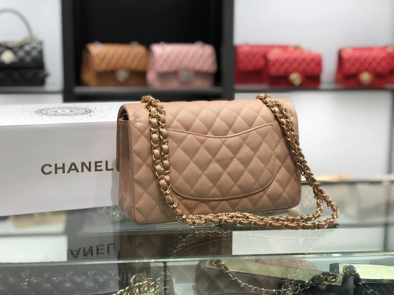 Chanel(香奈儿)cf 链条包 奶茶色 细球纹 菱格包 金扣 金链 25cm
