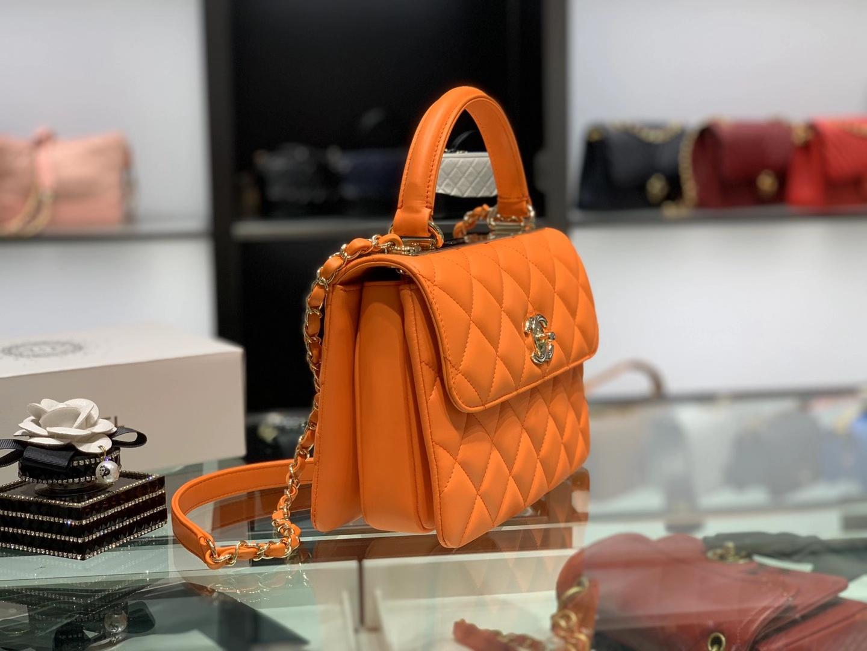 Chanel(香奈儿)Trendy cc 菱格 橘橙色 羊皮搭配金扣 25cm