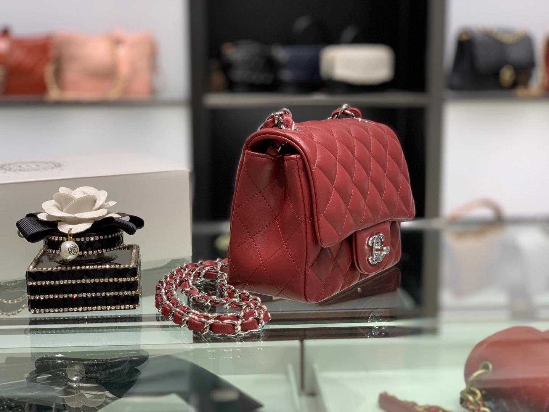 Chanel(香奈儿)最火 cf 链条包 酒红色 羊皮方胖子 银扣 银链 17cm