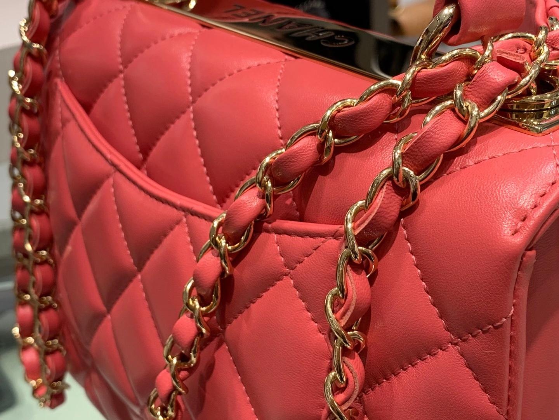 Chanel(香奈儿)Trendy cc 菱格 西瓜红 羊皮搭配金扣 25cm