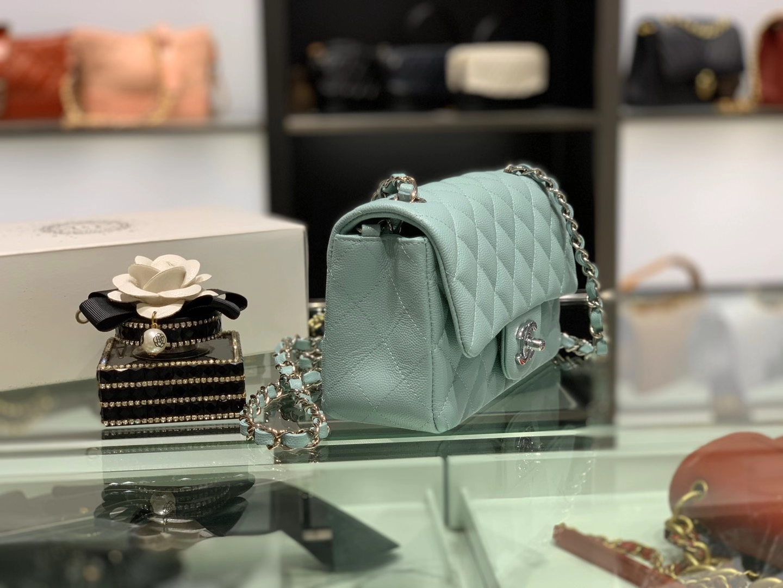 Chanel(香奈儿)cf 链条包 mini 浅薄荷蓝 球纹皮 银扣 银链 20cm