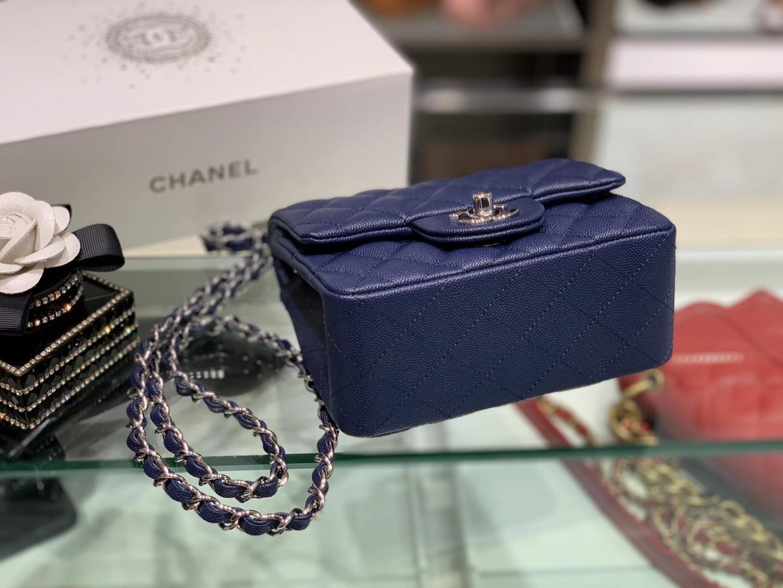 Chanel(香奈儿)最火 cf 链条包 宝石蓝 方胖子 细球纹 银扣 银链 17cm