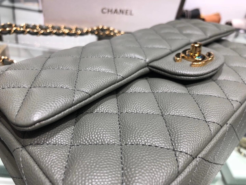 Chanel(香奈儿)cf 链条包 中号 经典口盖包 杏仁绿 金扣 金链 25cm