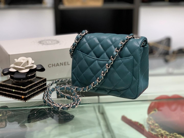 Chanel(香奈儿)最火 cf 链条包 靛青色 方胖子 细球纹 银扣 银链 17cm