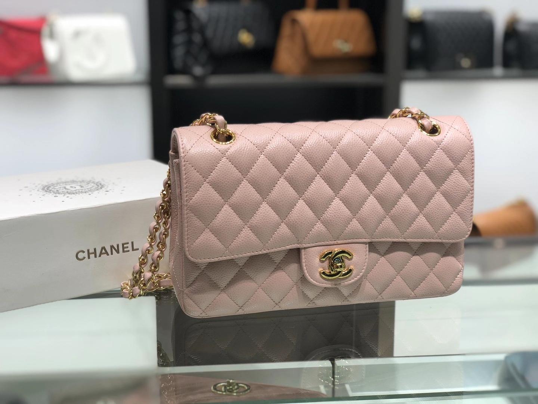 Chanel(香奈儿)cf 链条包 中号 经典口盖包 藕粉色 金扣 金链 25cm
