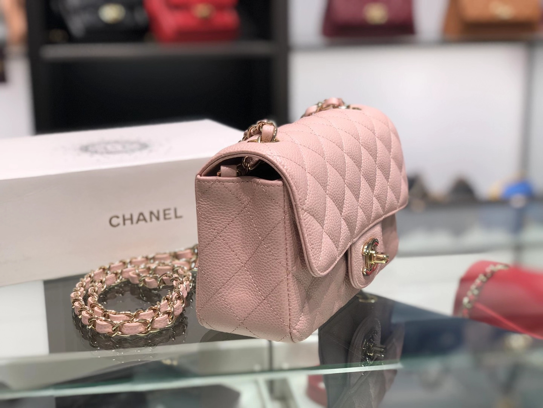 Chanel(香奈儿)cf 链条包 樱花粉 细球纹 菱格包 金扣 金链 20cm