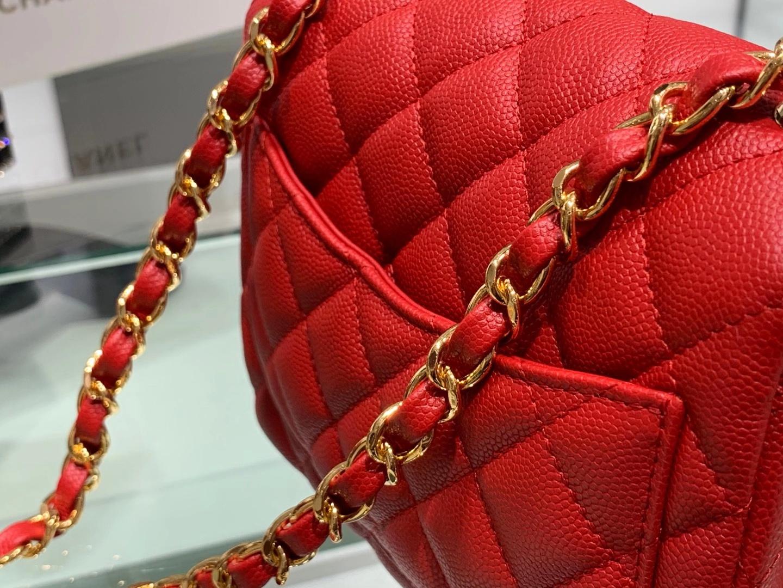 Chanel(香奈儿)最火 cf 链条包 红色 方胖子 细球纹 金扣 金链 17cm