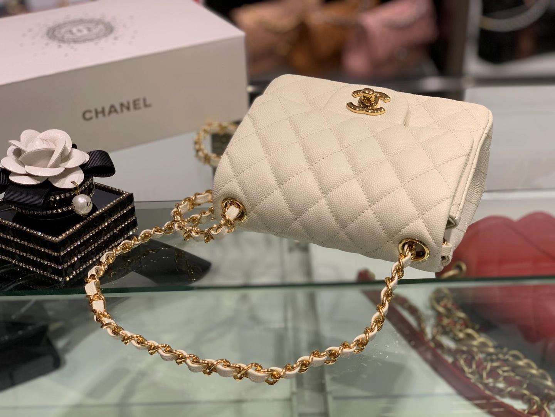 Chanel(香奈儿)最火 cf 链条包 方胖子 细球纹 奶昔白 金扣 金链 17cm