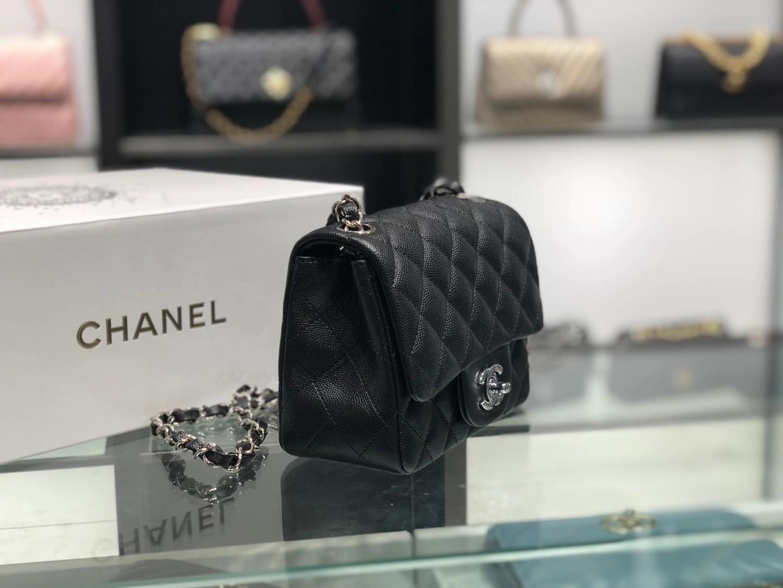 Chanel(香奈儿)cf 链条包 经典黑 细球纹 银扣 银链 17cm