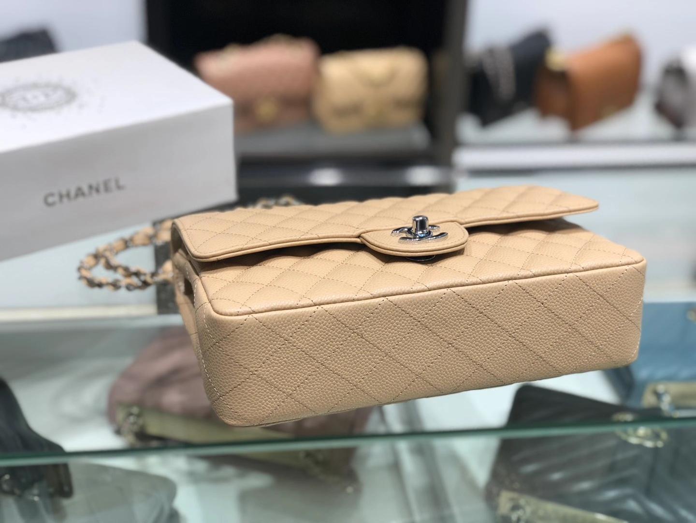 Chanel(香奈儿)cf 链条包 中号 经典口盖包 芝麻黄 银扣 银链 25cm