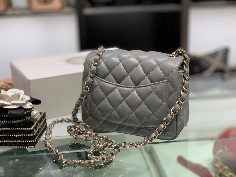 Chanel(香奈儿)cf  链条包 方胖子 巴黎灰 羊皮 金扣 金链 17cm