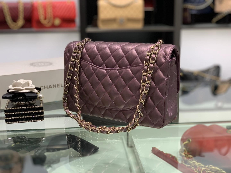 Chanel(香奈儿)cf 链条包 中号 经典口盖包 酒红色 金扣 金链 25cm