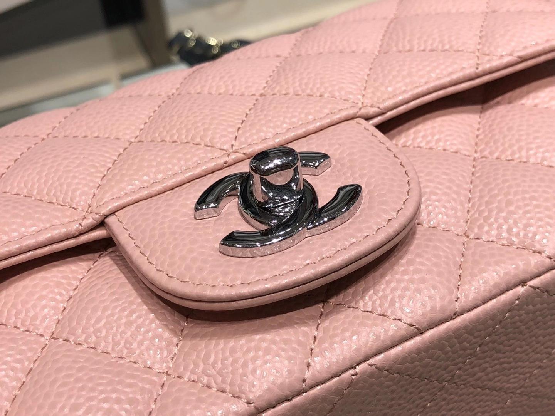 Chanel(香奈儿)cf 链条包 樱花粉 细球纹 菱格包 银扣 银链 20cm