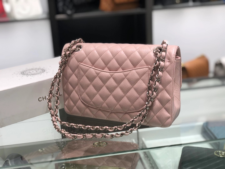 Chanel(香奈儿)cf 链条包 中号 经典口盖包 藕粉色 银扣 银链 25cm