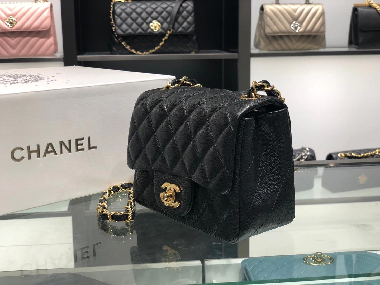 Chanel(香奈儿)最火 cf 链条包 黑色 羊皮方胖子 金扣 金链 17cm