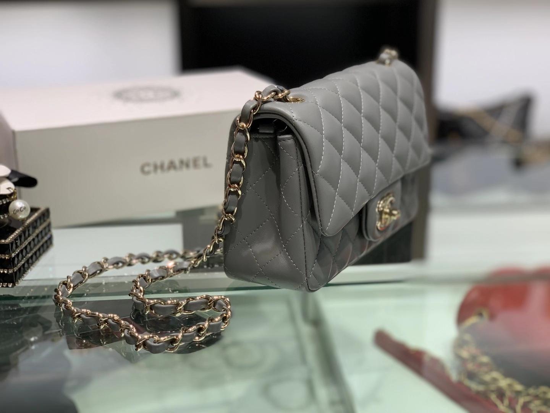 Chanel(香奈儿)cf 链条包 mini 巴黎灰 金扣 金链 20cm