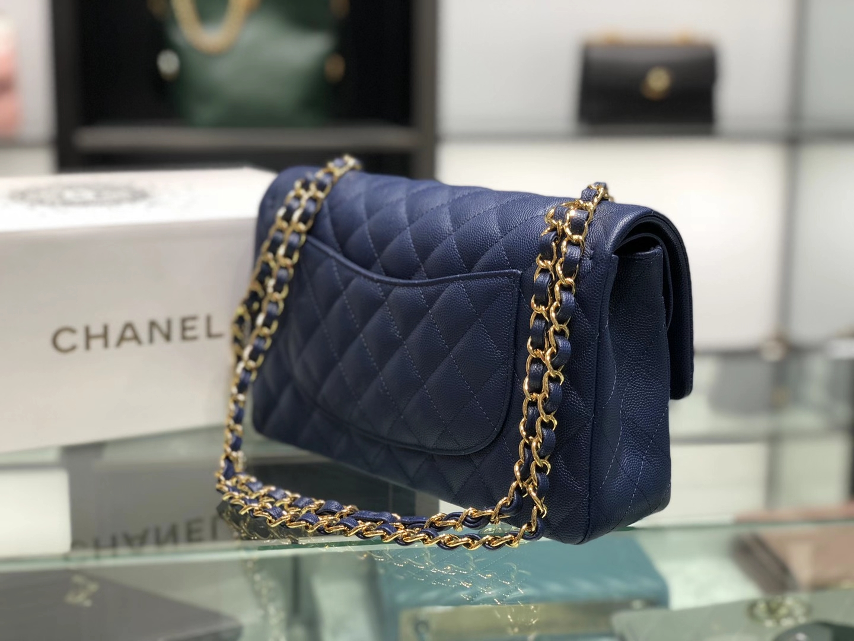 Chanel(香奈儿)cf 链条包 中号 经典口盖包 深蓝色 金扣 金链 25cm