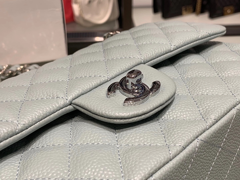 Chanel(香奈儿)cf 链条包 中号 经典口盖包 薄荷蓝 银扣 银链 25cm