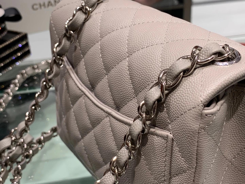 Chanel(香奈儿)最火 cf 链条包 方胖子 斑鸠灰 细球纹 银扣 银链 17cm