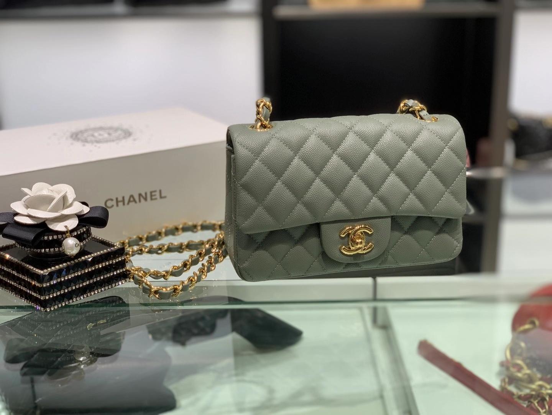 Chanel(香奈儿)cf 链条包 经典口盖包 细球纹 铅笔灰 金扣 金链 20cm