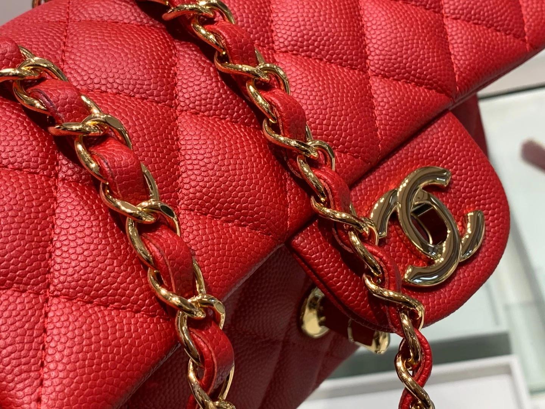 Chanel(香奈儿)cf 链条包 经典口盖包 细球纹 大红色 金扣 金链 20cm