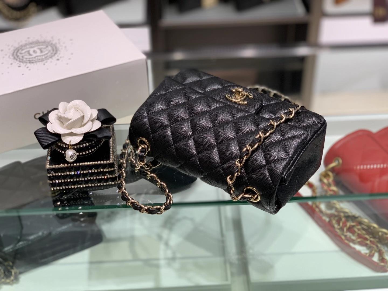 Chanel(香奈儿)cf 链条包 经典口盖包 细球纹 黑色 金扣 金链 20cm