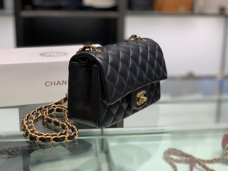 Chanel(香奈儿)cf 链条包 黑色 羊皮 菱格包 金扣 金链 20cm