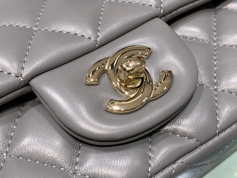 Chanel(香奈儿)cf 链条包 锡器灰 羊皮 菱格包 金扣 金链 20cm