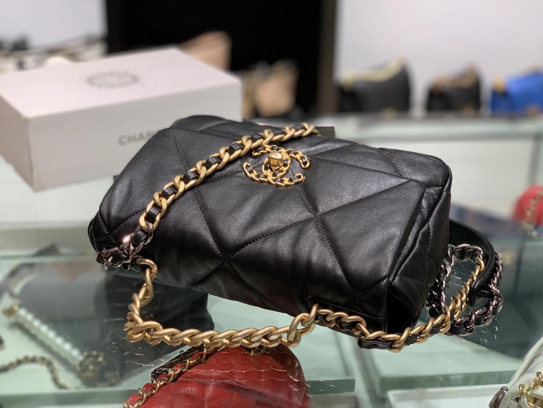 Chanel(香奈儿)19bag 最新 亮面褶皱小羊皮 黑色 26cm