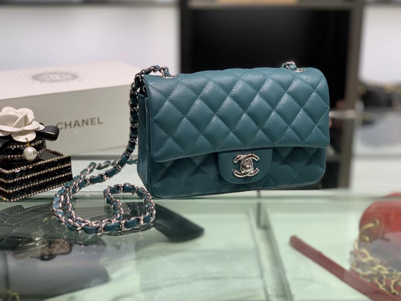 Chanel(香奈儿)cf 链条包 经典口盖包 细球纹 靛蓝色 银扣 银链 20cm