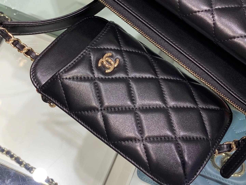 Chanel(香奈儿)无敌实用款 手机包 黑色 卡包 链条包 手拿包 多合一