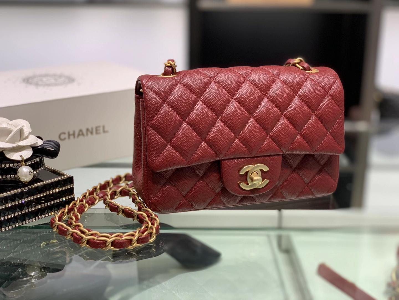 Chanel(香奈儿)cf 链条包 经典口盖包 细球纹 酒红色 金扣 金链 20cm