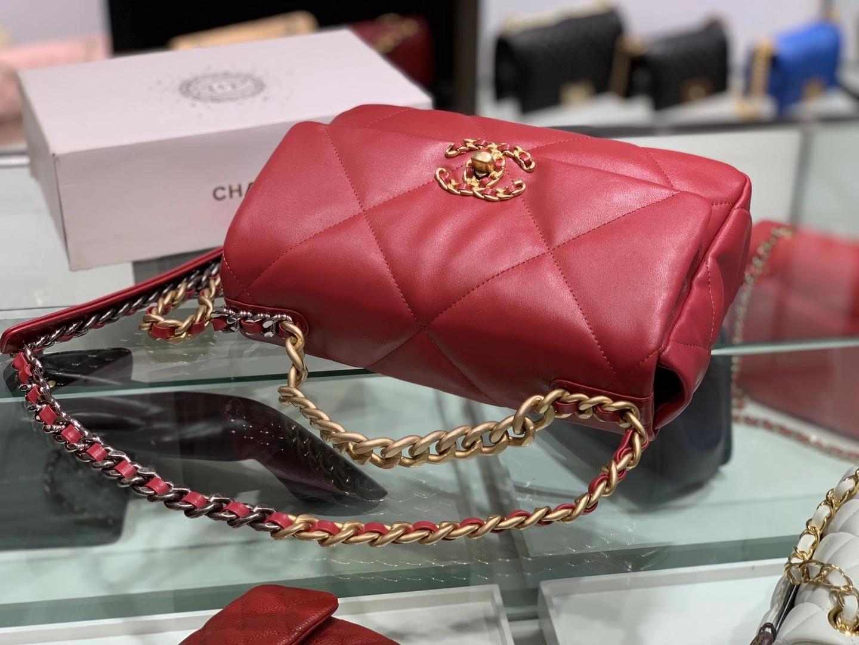 Chanel(香奈儿)19bag 最新 亮面褶皱小羊皮 酒红色 26cm