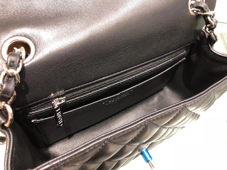 Chanel(香奈儿)cf 链条包 黑色 羊皮 菱格包 银扣 银链 20cm