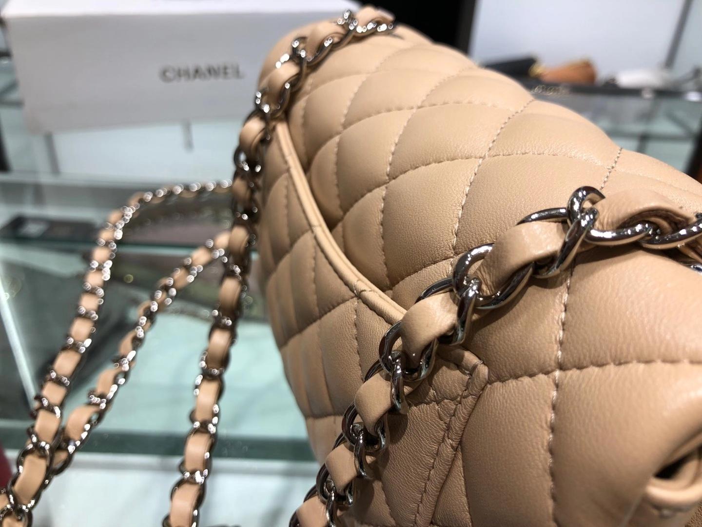 Chanel(香奈儿)cf 链条包 杏色 羊皮 菱格包 金扣 金链 20cm