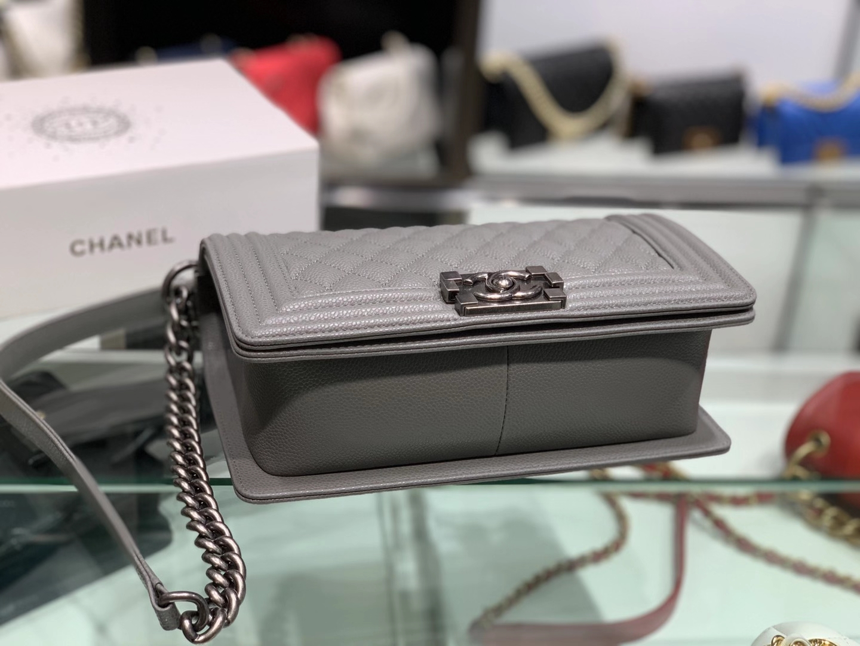 Chanel(香奈儿)Leboy 小羊皮配搭复古砂银 铅笔灰 25cm