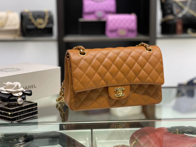 Chanel(香奈儿)cf 链条包 中号 经典口盖包 金棕色 金扣 金链 25cm