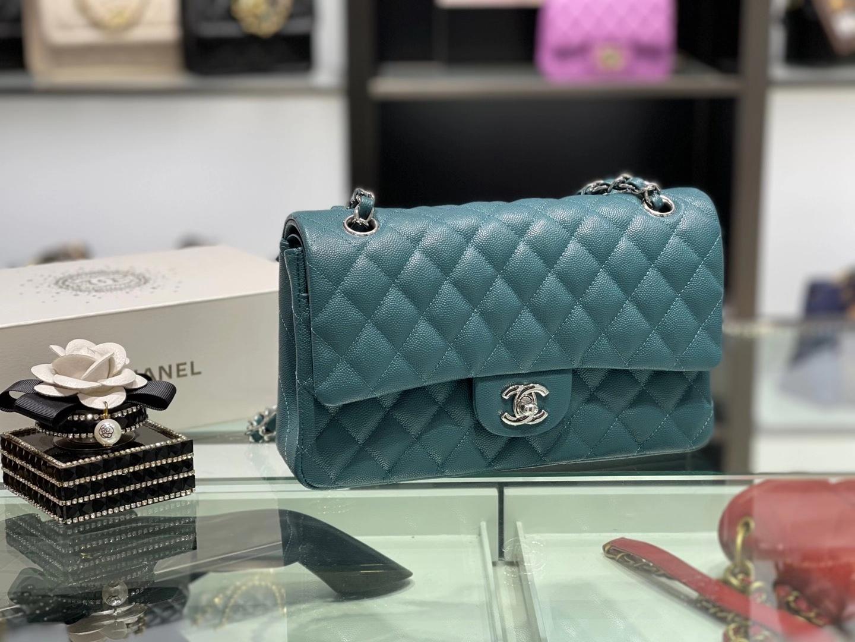 Chanel(香奈儿)cf 链条包 中号 经典口盖包 湖水蓝 银扣 银链 25cm