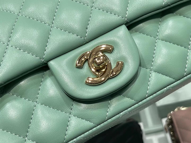 Chanel(香奈儿)cf 链条包 牛油果绿 羊皮 菱格包 金扣 金链 20cm
