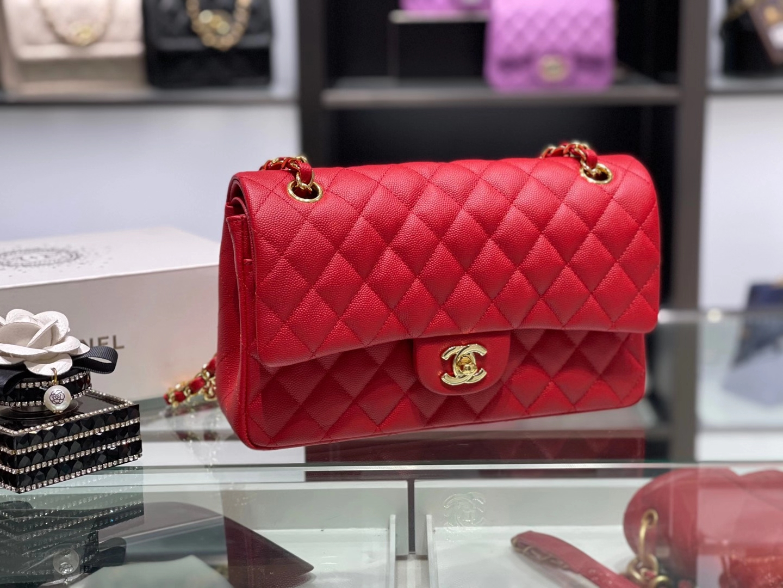 Chanel(香奈儿)cf 链条包 中号 经典口盖包 中国红 银扣 银链 25cm